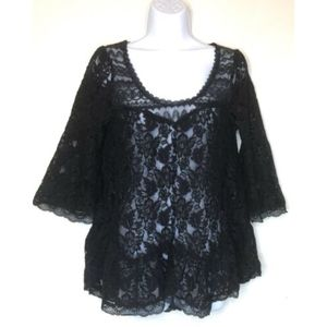 Free People Black Floral Lace Blouse Bell Sleeves